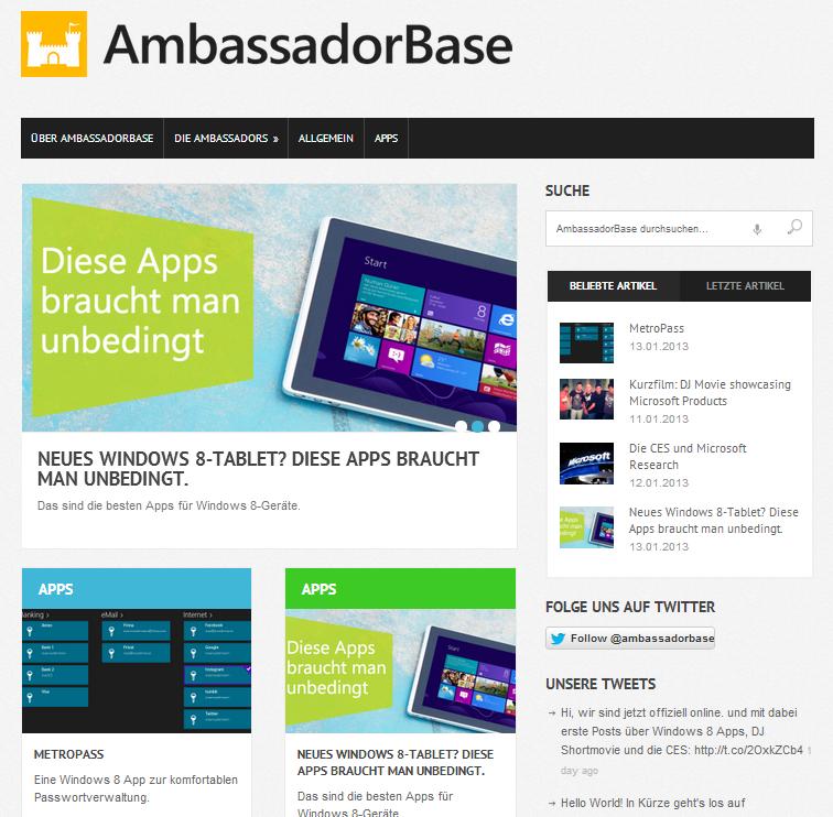 screenshot launch ambassadorbase